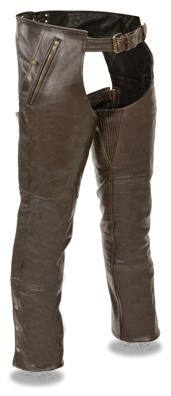 Men's Retro Brown Four Pocket Thermal Lined Chap - Divine Leather USA - 1