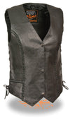 Women's Braided Side Lace Vest - Divine Leather USA - 1