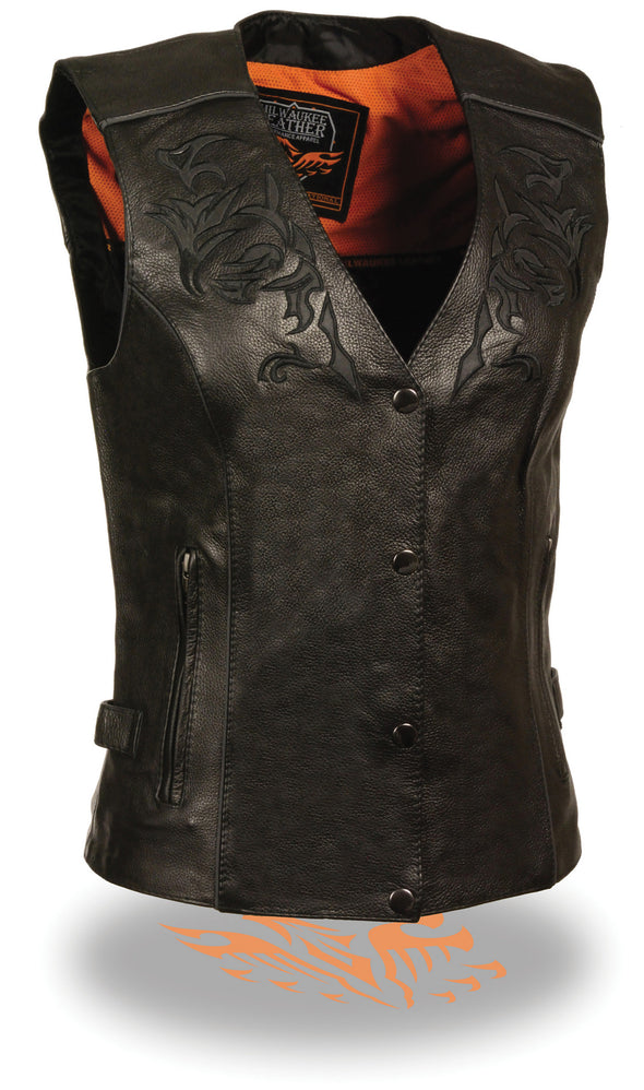 Women's Motorcycle Vest W/ Reflective Tribal Design & Piping - Divine Leather USA - 1