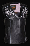 Women's Motorcycle Vest W/ Reflective Tribal Design & Piping -- Pink - Divine Leather USA - 3