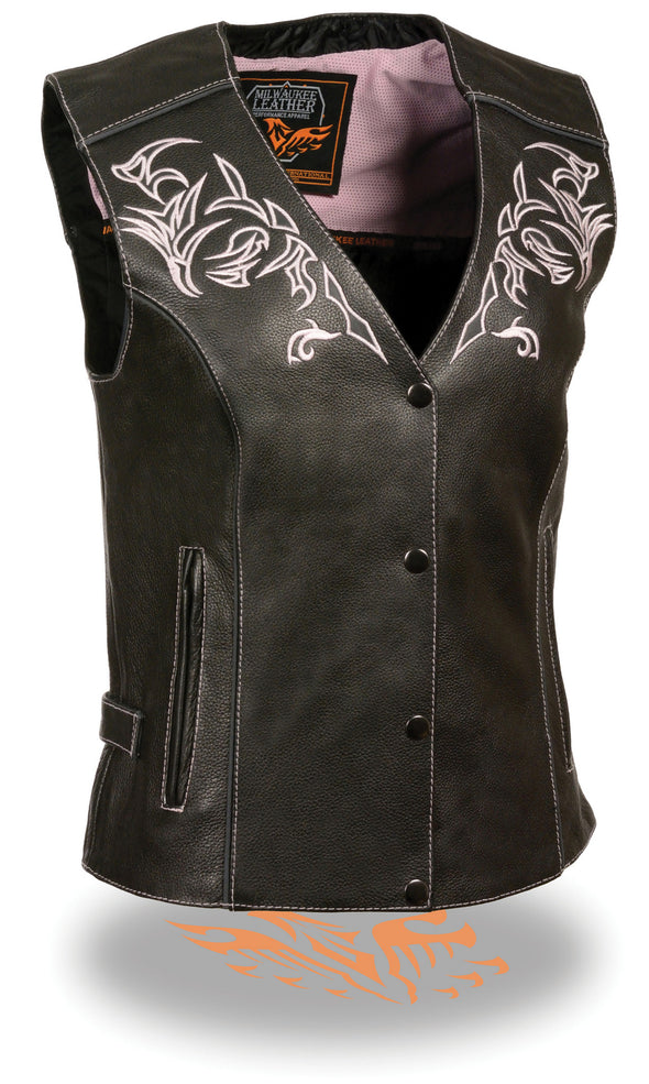 Women's Motorcycle Vest W/ Reflective Tribal Design & Piping -- Pink - Divine Leather USA - 1
