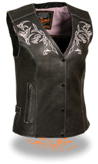 Women's Motorcycle Vest W/ Reflective Tribal Design & Piping -- Pink