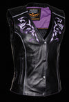 Women's Motorcycle Vest W/ Reflective Tribal Design & Piping - Divine Leather USA - 8