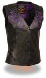 Women's Motorcycle Vest W/ Reflective Tribal Design & Piping -- Purple - Divine Leather USA - 1
