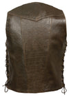 Men's Retro Brown 10 Pocket Side Lace Vest - Divine Leather USA - 2