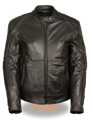 Women Jacket with Stud & Wings Detailing - Divine Leather USA - 1