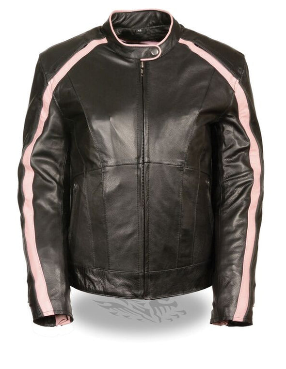 Women Jacket with Stud & Wings Detailing -- Pink - Divine Leather USA - 1