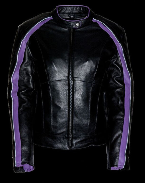Women Jacket with Stud & Wings Detailing - Purple - Divine Leather USA - 4