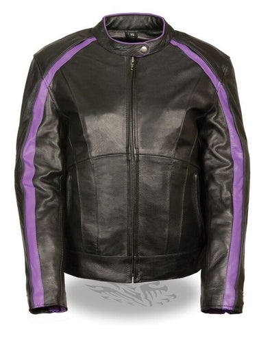 Women Jacket with Stud & Wings Detailing - Purple - Divine Leather USA - 1