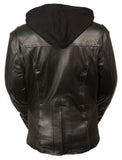 Ladies Embroided Jacket With Flece Hoodie -- Black - Divine Leather USA - 2