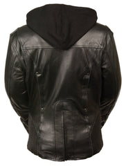 Ladies Embroided Jacket With Flece Hoodie -- Black