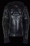 Ladies Embroided Jacket With Flece Hoodie -- Black - Divine Leather USA - 4