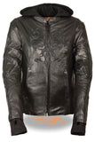 Ladies Embroided Jacket With Flece Hoodie -- Black - Divine Leather USA - 1
