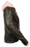 Ladies Embroided Jacket With Fleece Hoodie -- Pink - Divine Leather USA - 3