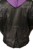 Ladies Embroided Jacket With Fleece Hoodie - Divine Leather USA - 2