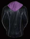 Ladies Embroided Jacket With Fleece Hoodie - Divine Leather USA - 5