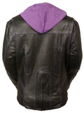 Ladies Embroided Jacket With Fleece Hoodie - Divine Leather USA - 3