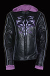 Ladies Embroided Jacket With Fleece Hoodie - Divine Leather USA - 4