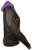 Ladies Embroided Jacket With Fleece Hoodie - Divine Leather USA - 6