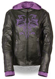 Ladies Embroided Jacket With Fleece Hoodie - Divine Leather USA - 1