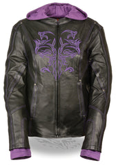 Ladies Embroided Jacket With Fleece Hoodie
