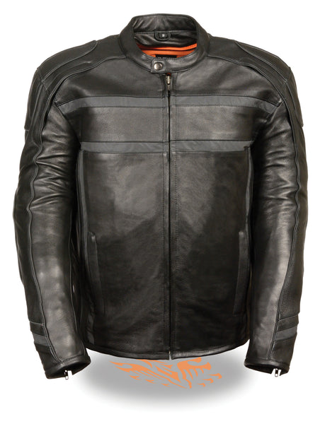 Men's Naked Leather Reflected Vented Jacket