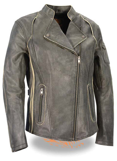 Women's Lightweight, Vintage Racer Jacket W/Racing Stripes - Divine Leather USA - 1