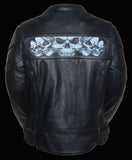 WOMEN'S Scooter Jacket With Reflective Skull - Divine Leather USA - 3