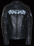 WOMEN'S Scooter Jacket With Reflective Skull - Divine Leather USA - 4