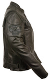 WOMEN'S Scooter Jacket With Reflective Skull - Divine Leather USA - 5