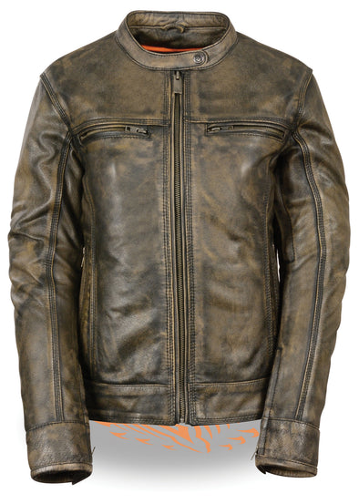 Women's Vented Scooter Jacket Brown - Divine Leather USA - 1