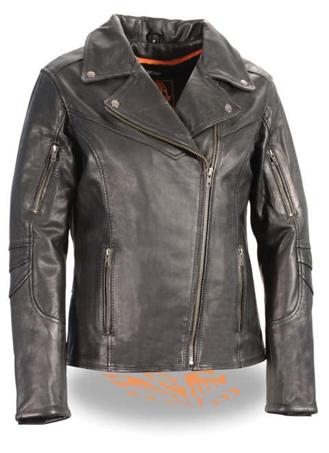 Women's Lightweight Long Length Beltless Vented Biker Jacket - Divine Leather USA - 1
