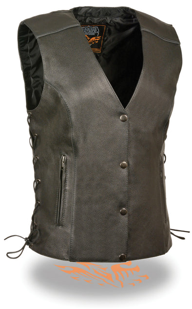 Women's Side Lace Vest W/ Reflective Piping - Divine Leather USA - 1