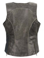 Women's Vintage Slate Snap Front Vest W/ Racing Stripes