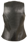 Ladies Open Neck Zipper Front Leather Vest - Divine Leather USA - 2
