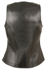 Ladies Open Neck Zipper Front Leather Vest