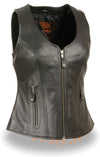 Ladies Open Neck Zipper Front Leather Vest - Divine Leather USA - 1