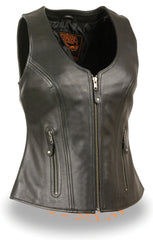 Ladies Motorcycle Biker Open Neck Zipper Front Black Leather Vest W/ Gun Pockets