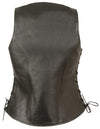 Ladies Side Lace Zipper Front Distress Brown Leather Vest W/ Gun Pockets - Divine Leather USA - 2