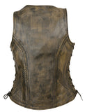 Ladies Side Lace Zipper Front Distress Brown Leather Vest W/ Gun Pockets - Divine Leather USA - 4