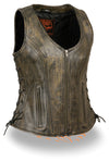 Ladies Side Lace Zipper Front Distress Brown Leather Vest W/ Gun Pockets - Divine Leather USA - 3