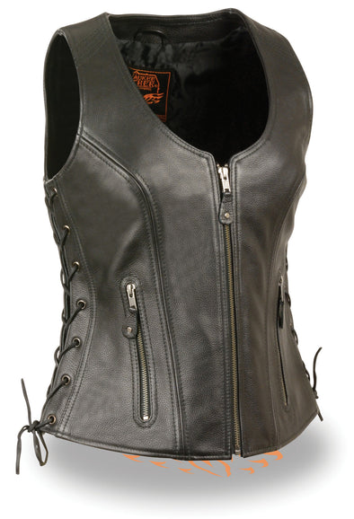 Ladies Side Lace Zipper Front Distress Brown Leather Vest W/ Gun Pockets - Divine Leather USA - 1