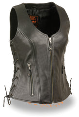 Ladies Side Lace Zipper Front Distress Brown Leather Vest W/ Gun Pockets