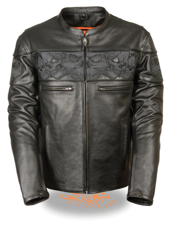 Men's Crossover Scooter Jacket w/ Reflective Skulls - Divine Leather USA - 1