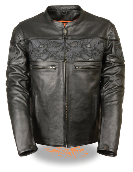 Milwaukee Leather Men's Crossover Stand Up Collar Motorcycle Jacket w/ Reflectiv