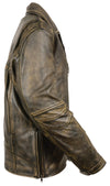 Men's Tripple Stitch Beltless Biker Jacket - Divine Leather USA - 3