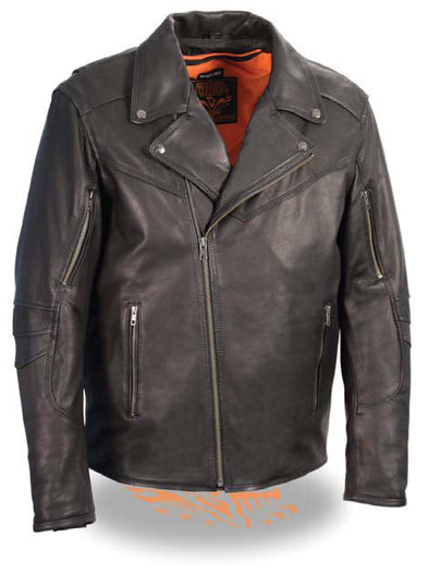 Men's Lightweight Triple Stitch Extra Long Beltless Biker Jacket - Divine Leather USA - 1