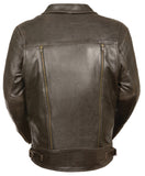 Men's Retro Brown Utility Pocket M/C Jacket - Divine Leather USA - 2