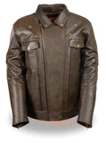 Men's Retro Brown Utility Pocket M/C Jacket - Divine Leather USA - 3