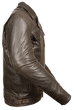 Men's Retro Brown Utility Pocket M/C Jacket - Divine Leather USA - 4